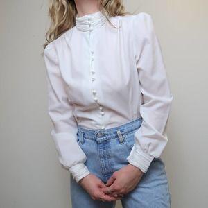 Vintage 80s white high-neck button down blouse 14